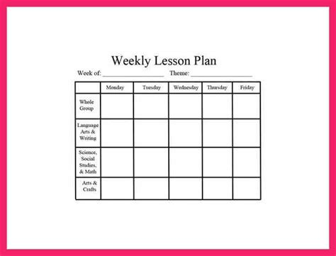 monthly lesson plan template free free lesson plan templates bio letter format