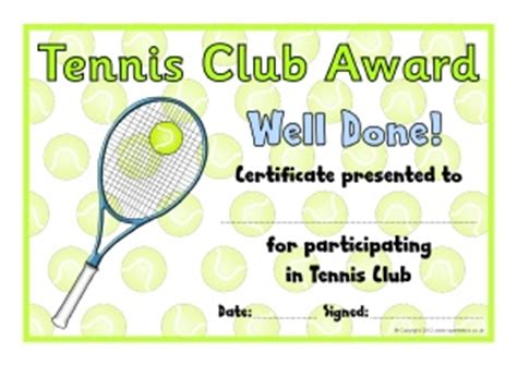 tennis certificate template free primary sports award certificates sparklebox