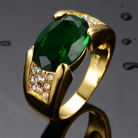 fashion jewelry 14kt white gold filled rings emerald