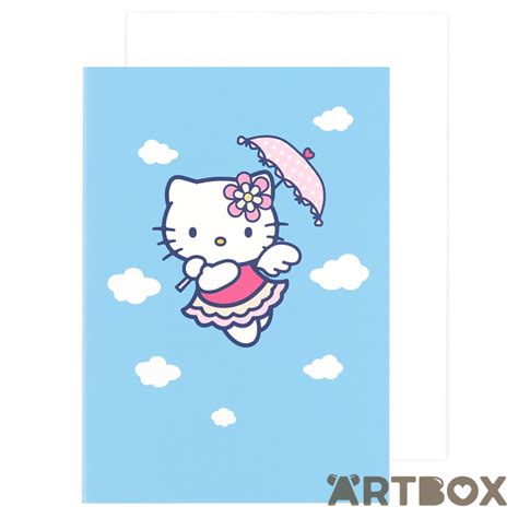 hello kitty printable greeting cards buy sanrio hello kitty floating clouds blue greeting card