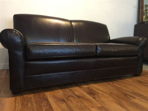 Sold Mitchell Gold Brown Leather Sofa Modern To Vintage Mitchell Gold Leather Sofa
