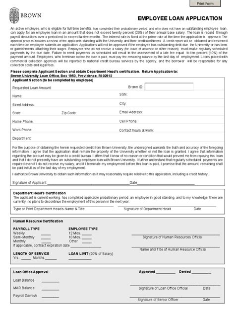 Application Employee Loan Application Form Employee Loan Template