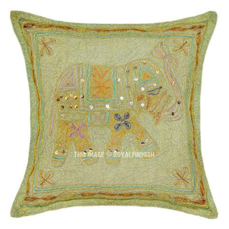Cotton Throw Pillows Brown Elephant Embroidered 16x16 Cotton Throw Pillow Cover
