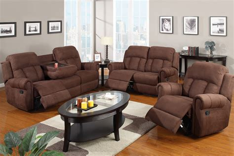 Sofa Set With Recliner 3 Sofa Set Recliner With Fold Cup Holders