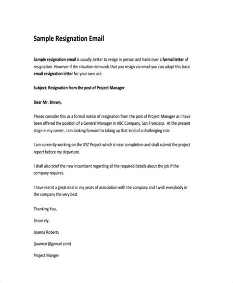Sending Resignation Letter Via Email by 25 Email Exles Sles In Pdf