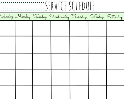 printable schedule service schedule calendar printable first home love life