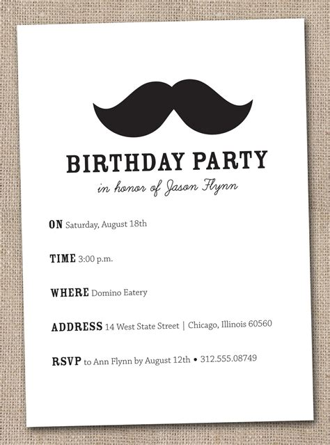 mustache birthday card template 7 best images of mustache invitations printable free