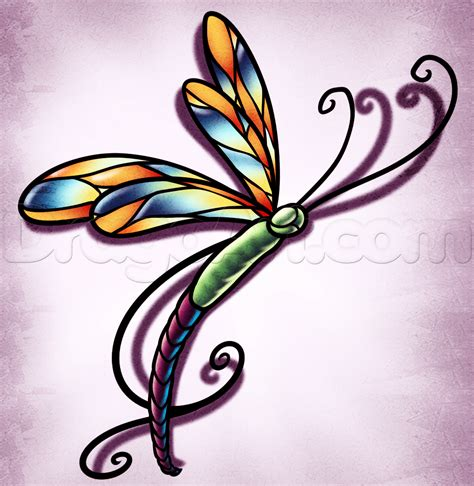 draw tattoos how to draw a dragonfly step by step tattoos pop