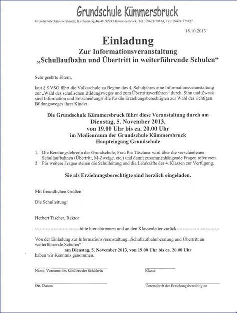 Einladung Informationsabend Übertritt 4 Klasse