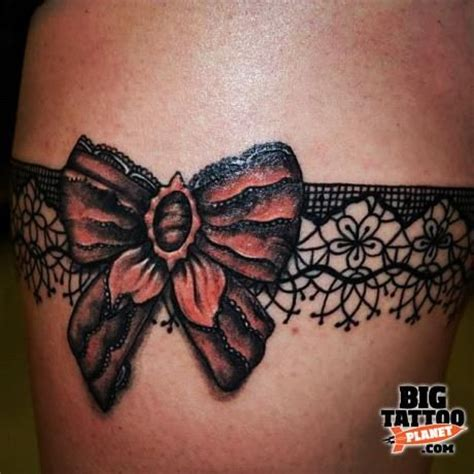 garter tattoos on thigh best 25 lace bow tattoos ideas on bow