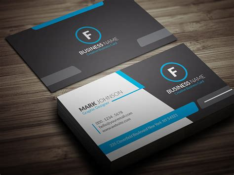 cool blue corporate business card template 187 free download