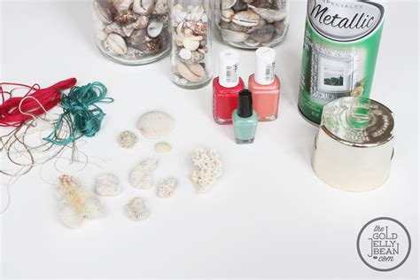 Jewelry Diy With Paint Dipped Coral And Gold Shells The