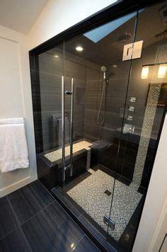 cave badezimmer dekorieren ideen duschkabine mit dekorativen steinen und grauen badfliesen