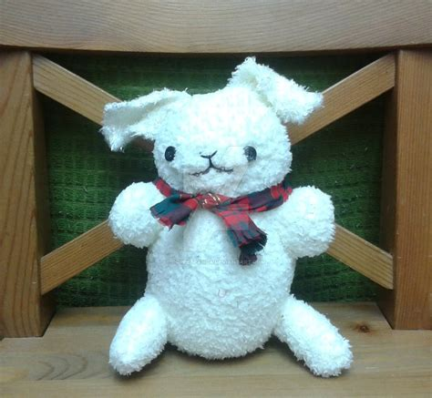 Handmade Plush - handmade plush white bunny with scarf by