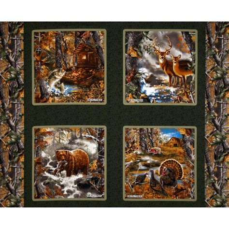Realtree Quilting Fabric by Realtree Nature Pillow Panel Green Discount Designer