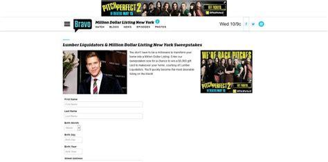 New York Sweepstakes Registration - bravotv com makeover lumber liquidators and million dollar listing new york