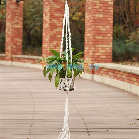 How To Make A Rope Hanging Basket - pot holder hanging basket handcrafted braided macrame cord