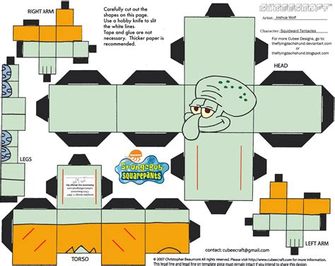 How To Make Spongebob With Paper - ss squidward tentacles cubee by theflyingdachshund on