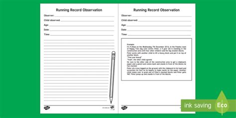 Eyfs Running Record Observation Record New Zealand Back To School Running Running Record Template Early Childhood