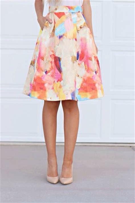 Colourful Skirt skirt watercolor a line midi midi skirt colorful a