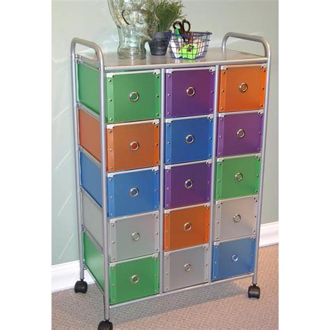 15 drawer colorful storage cart 4d concepts multi color 15 square drawer rolling cart