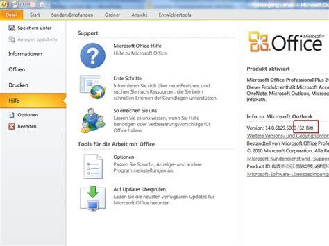 Lesen Microsoft Office outlook herausfinden ob sie die 32 oder 64 bit version nutzen schieb de
