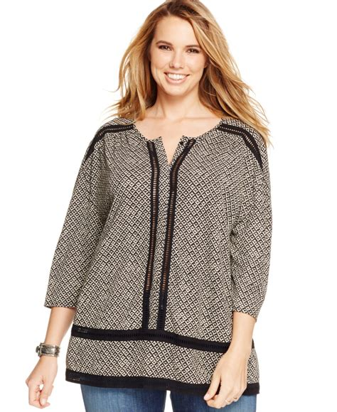 Lucky Blouse By lucky brand lucky brand plus size eyelet trim printed