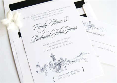 Wedding Invitations Seattle by Seattle Skyline Wedding Invitations