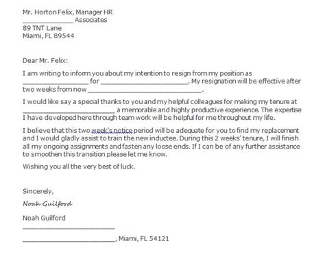 Resignation Letter After Two Weeks Two Weeks Notice Letter Template Cyberuse