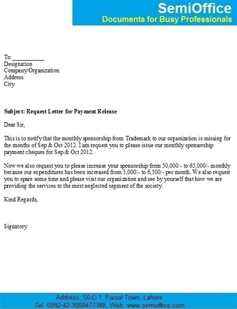 Format Of Release Letter From A Company Request Letter For Release Of Outstanding Payment