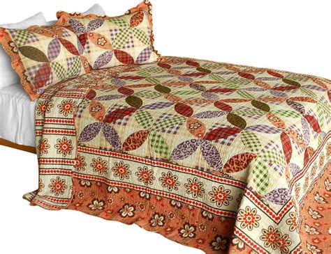 Patchwork Quilt Sizes - magic of 3pc cotton contained patchwork quilt set