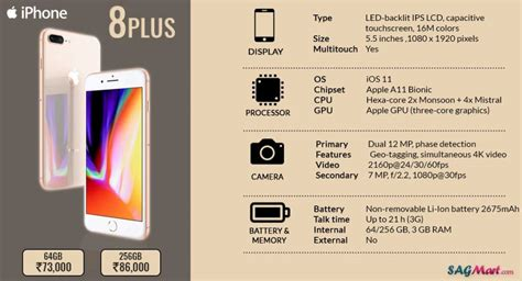 apple iphone 8 plus smartphone specifications infographic sagmart