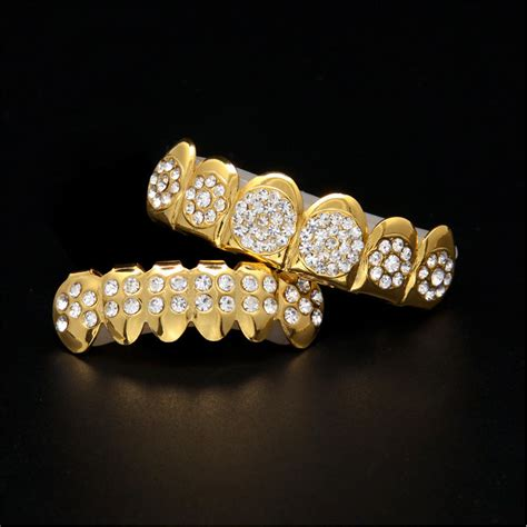jewelry stores that make grillz trend hip hop gold braces gold plated drill gold teeth