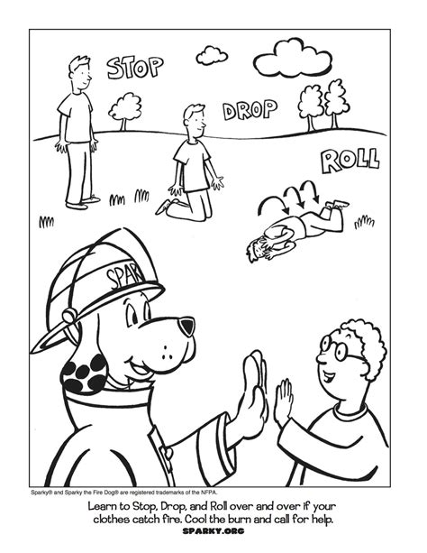 stop drop and roll coloring pages coloring home