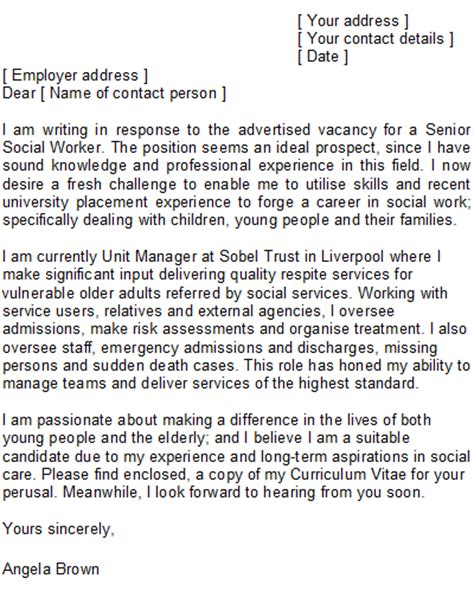 Social Work Cover Letter Exle by Sle Social Worker Cover Letter