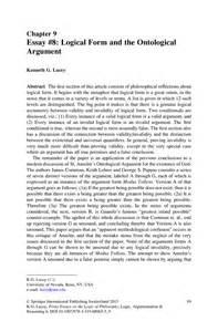 Ontological Argument Anselm Essay by Essay 8 Logical Form And The Ontological Argument Springer
