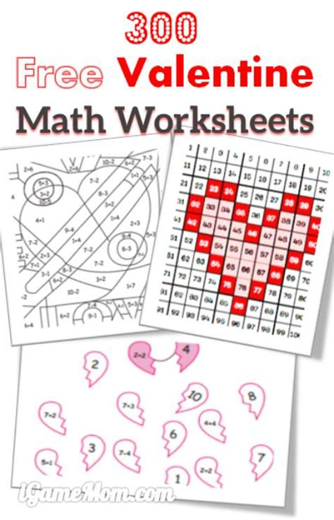 free printable worksheets valentine s day 300 free valentine math worksheets for kids