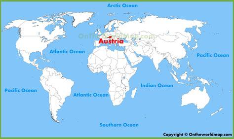 austria on the world map austria location on the world map
