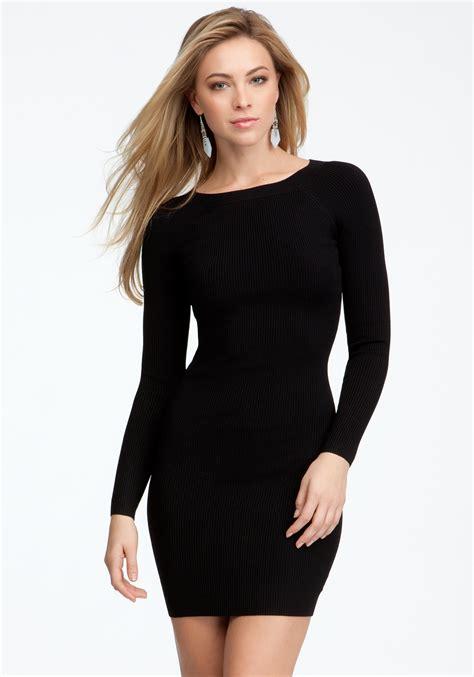 sleeved sweater dress bebe sleeve crew neck sweater dress in black blk lyst