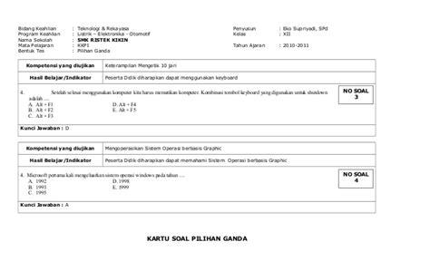 Saklar Ganda Kkpi Kartu Soal Essay Ganda 2010 2011