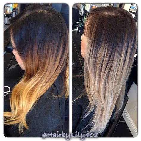 before and after ombre balayage on dark brown color treated hair before and after ombr 233 with balayage ash blond ends yelp