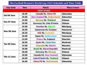 World Cup Time Table by Fifa Football Women S World Cup 2015 Schedule And Time