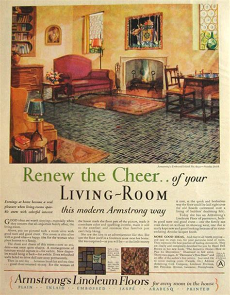 Vintage Living Room Ad 1928 Armstrong S Linoleum Ad Cheery Living Room Vintage