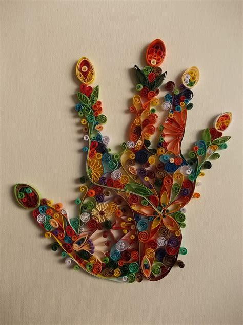 Handmade In - lucky handmade quilling picture on manually painted