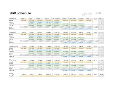 7 weekly employee schedule template procedure template