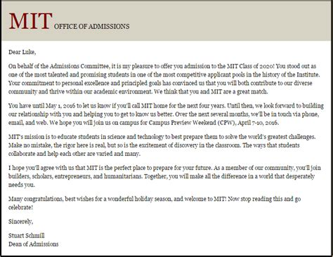 Deferred Acceptance Letter Of Credit Mit Early Thread Mit