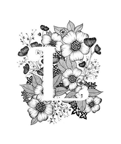 lettere calligrafia letter l print flowers alphabet calligraphy bolsas