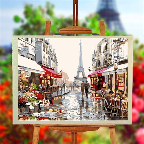 diy paintings for home decor paris street frameless diy oil painting by numbers