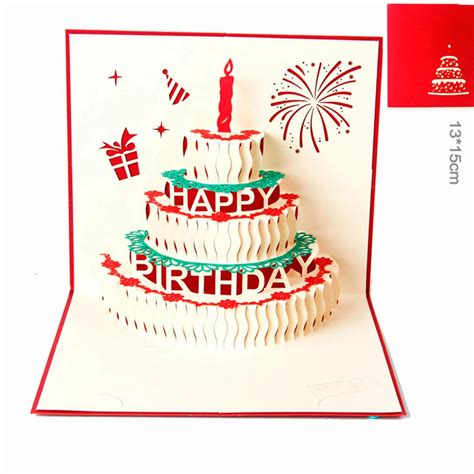 3 Candles Birthday Cake 3d Gift Card Haiku Kartu Ucapan Ulang Tahun 3d pop up handmade laser cut vintage cards birthday cake with candle creative gifts postcard
