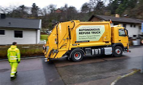 volvo lorries uk self driving volvo fm refuse lorry makes uk debut